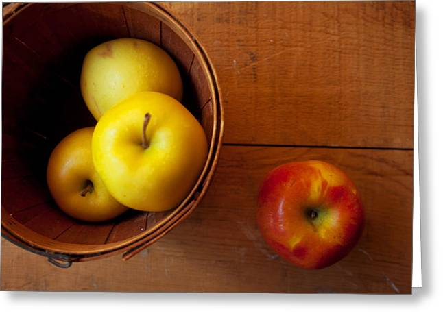 Yellow Apples Greeting Cards - Waiting Greeting Card by Toni Hopper
