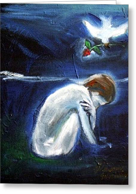Greeting Card featuring the painting Waiting by Winsome Gunning