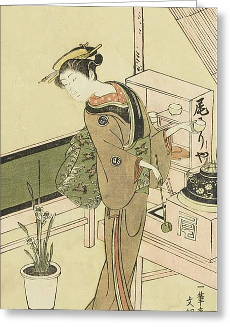 Waitress At The Owariya Teahouse Greeting Card by Ippitsusai Buncho