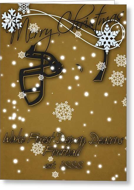 Wake Forest Demon Deacons Christmas Card Greeting Card by Joe Hamilton