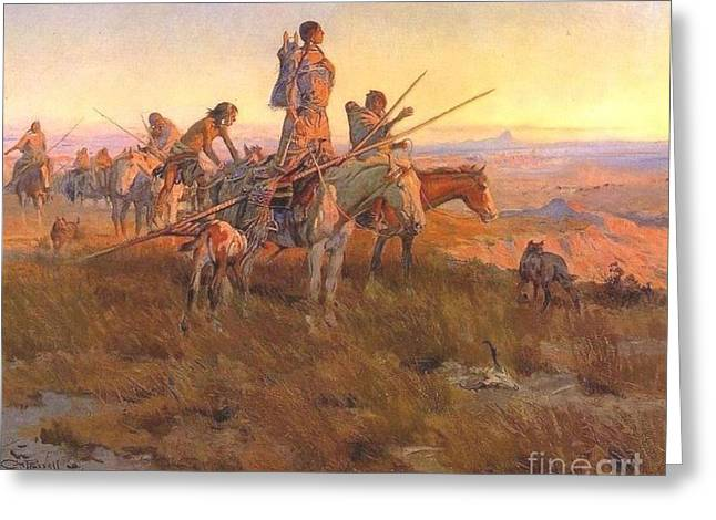 Wake Of The Buffalo Runners Greeting Card by Pg Reproductions