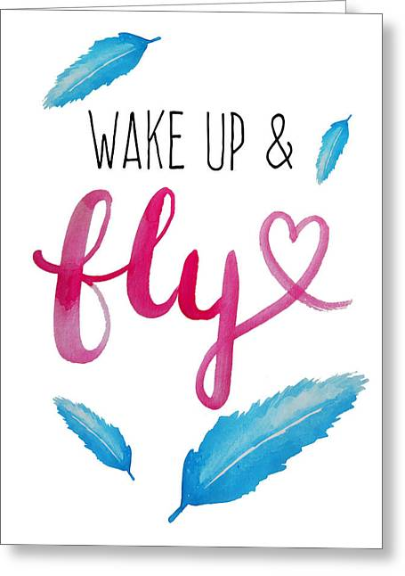 Wake Up And Fly Watercolor Greeting Card
