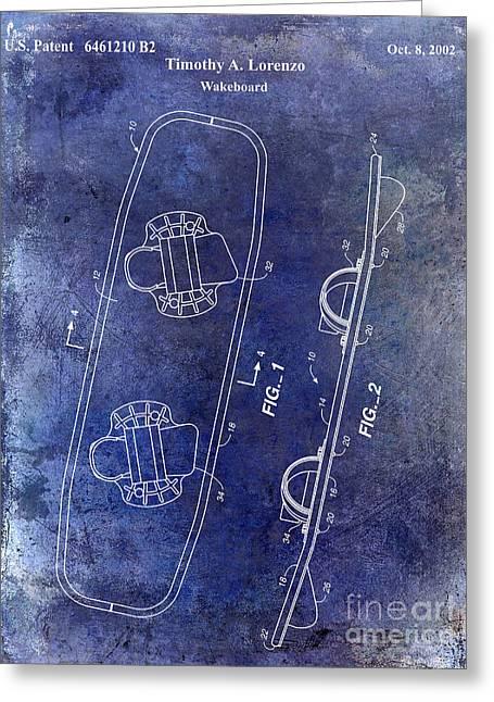 Wakeboard Patent Drawing Blue Greeting Card by Jon Neidert