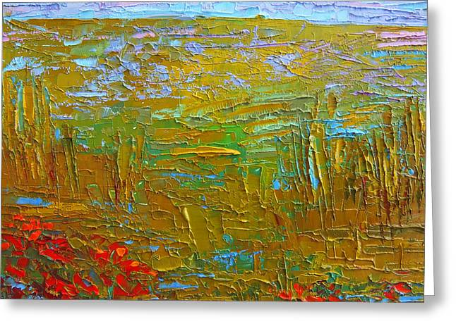 Waking Up At Dawn Poppy Field Modern Impressionist Landscape Palette Knife Oil Painting Greeting Card by Patricia Awapara