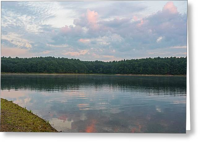 Walden Pond Morning Light Concord Ma Red Clouds Greeting Card