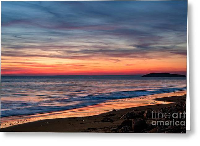 Wales Gower Coast Dusk Greeting Card