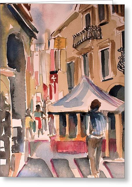 Walking In Verona Italy  Greeting Card