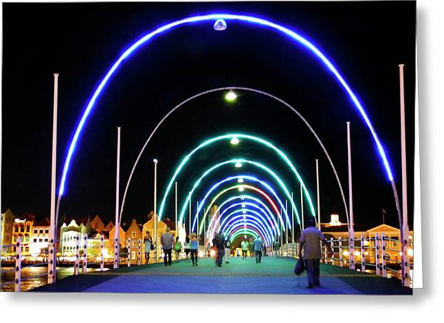 Greeting Card featuring the photograph Walk Along The Floating Bridge, Willemstad, Curacao by Kurt Van Wagner