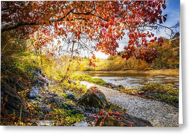 Walk Along The River Greeting Card by Debra and Dave Vanderlaan