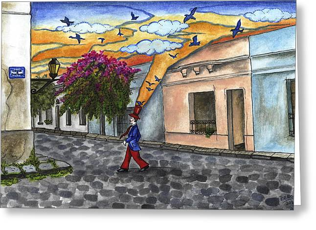 Walking By The Old City Greeting Card
