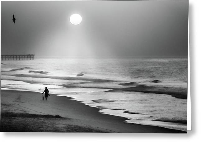 Greeting Card featuring the photograph Walk Beneath The Moon by Karen Wiles