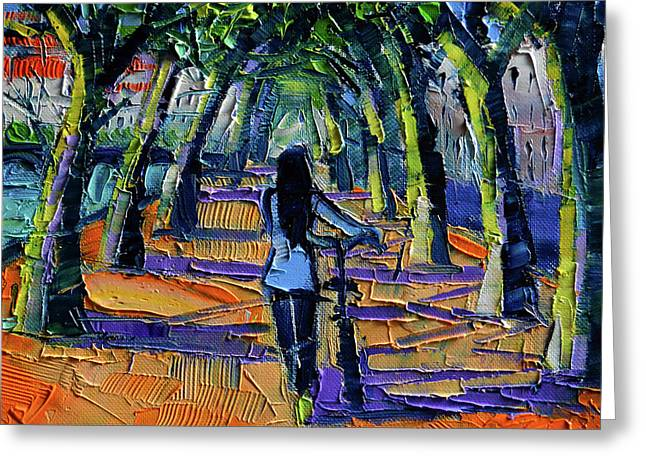 Walk Beneath The Plane Trees Modern Impressionist Palette Knife Painting Greeting Card