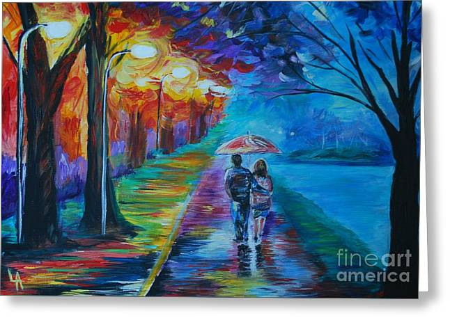 Greeting Card featuring the painting Walk By The Lake  by Leslie Allen