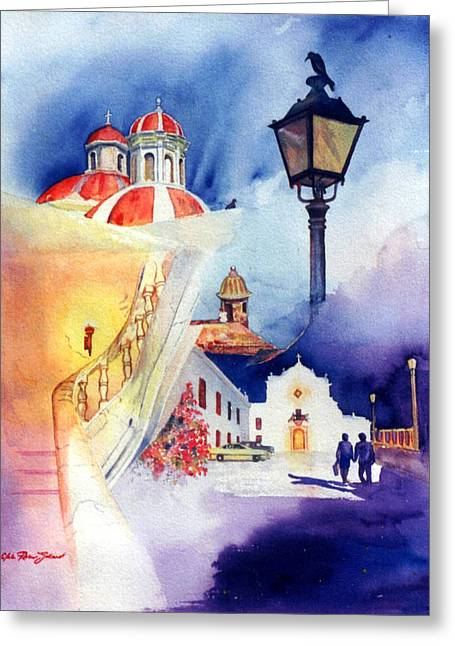 Walk In Old San Juan Greeting Card by Estela Robles