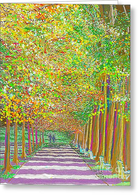 Walk In Park Cathedral Greeting Card