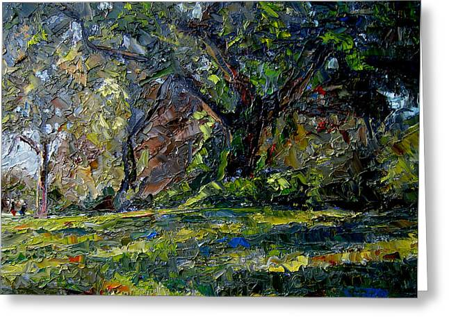 Walk In The Woods Greeting Card by Mark Hartung