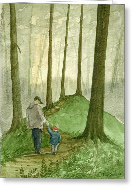 Sean Seal Greeting Cards - Walk In The Woods Greeting Card by Sean Seal