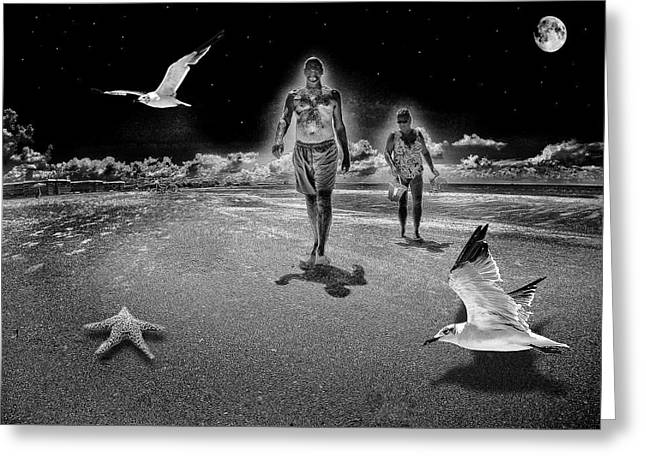Walk On The Beach At Night Greeting Card by Kevin Cable