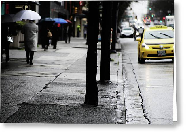 Walk Or Cab Greeting Card by Jerry Cordeiro