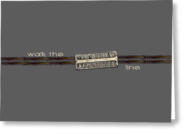 Walk The Line Light Lettering Greeting Card by Heather Applegate
