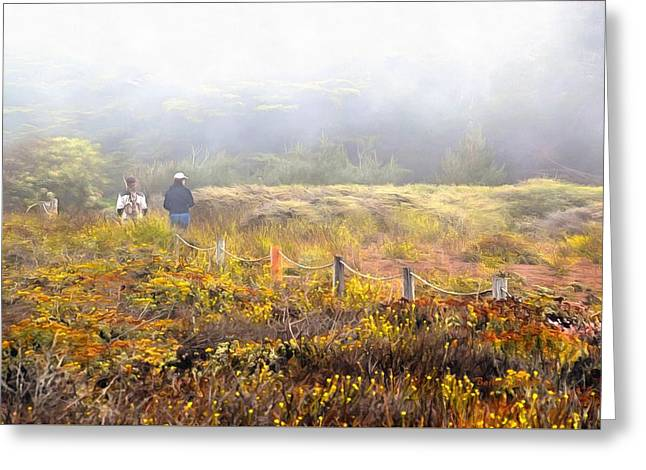 Walk With A Friend On A Foggy Day In Cambria Painting Greeting Card by Barbara Snyder