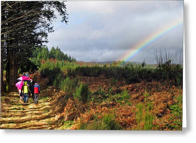 Walkers With Rainbow Greeting Card