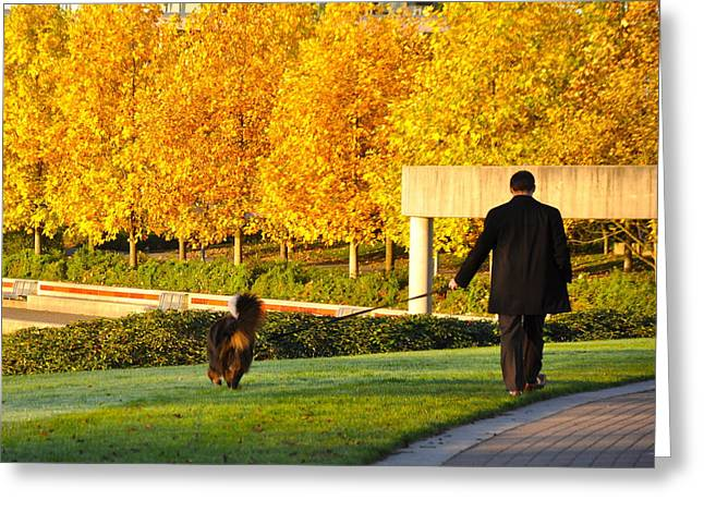 Walkies In Autumn Greeting Card
