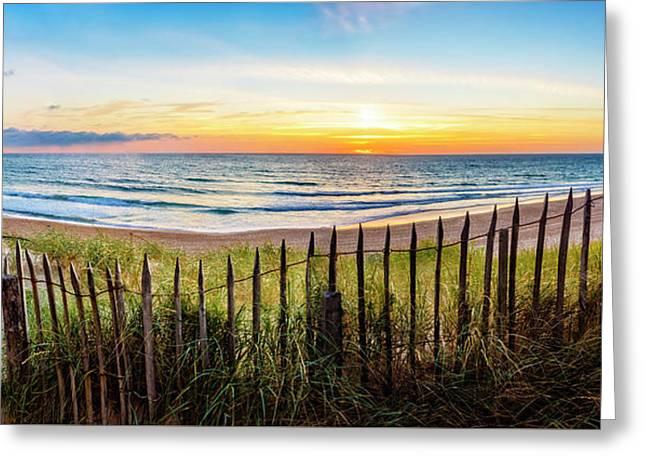 Walking Along The Dunes Greeting Card by Debra and Dave Vanderlaan