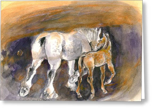 Greeting Card featuring the painting Walking Away by Mary Armstrong