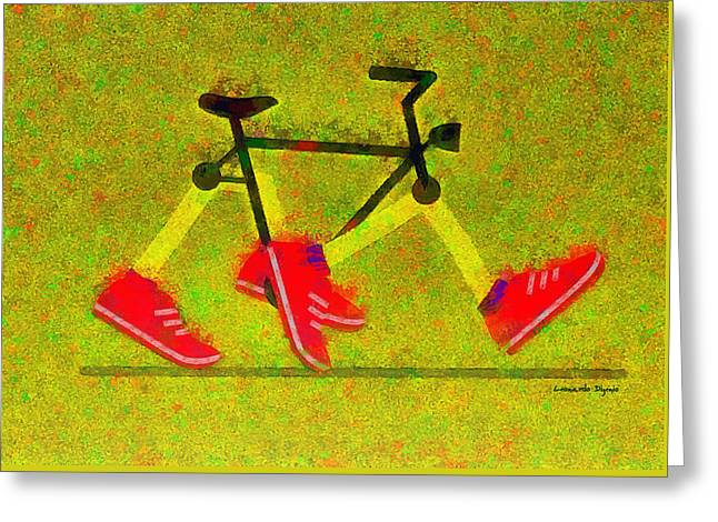 Walking Bike - Da Greeting Card by Leonardo Digenio