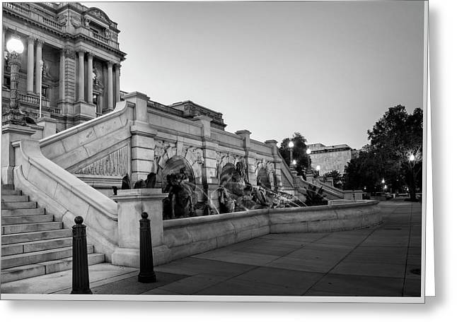 Walking By The Library Of Congress In Black And White Greeting Card by Greg Mimbs
