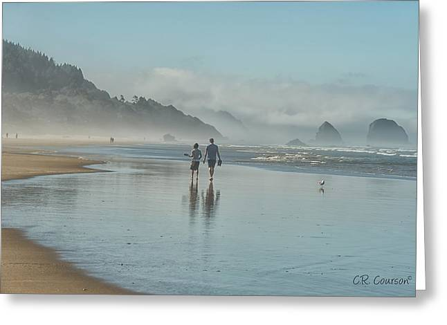 Walking Cannon Beach Greeting Card by CR  Courson