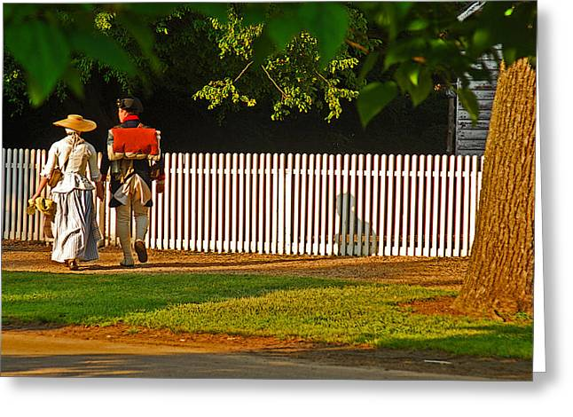 Walking Couple - Williamsburg Greeting Card by Panos Trivoulides