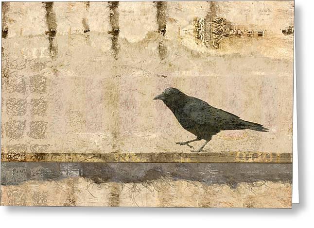 Walking Crow Greeting Card by Carol Leigh