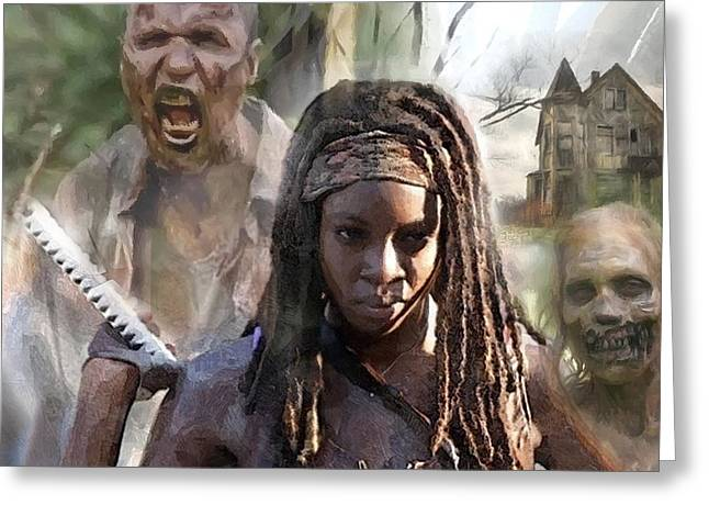 Walking Dead Bad Ass Girl 2 Greeting Card by Carl Gouveia