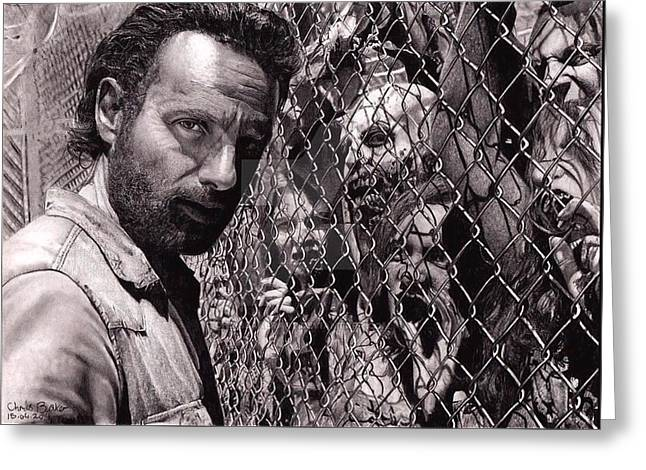 Walking Dead Faceing  Greeting Card by Oscar Benero Lopez