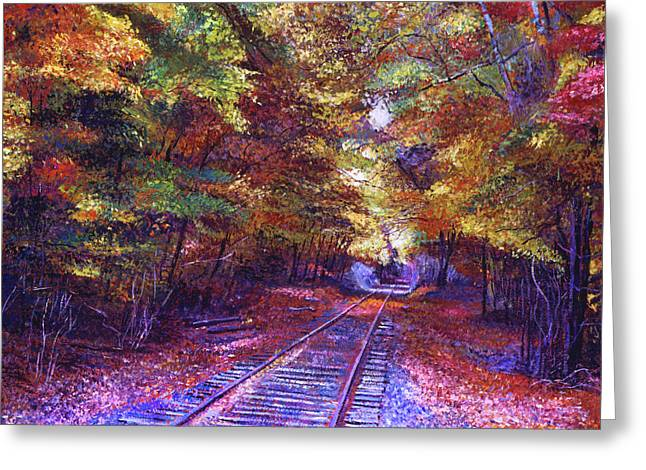 Walking Down The Railway Tracks Greeting Card