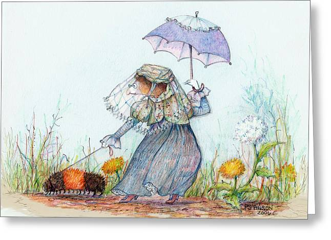 Walking Fuzzy Greeting Card by Peggy Wilson
