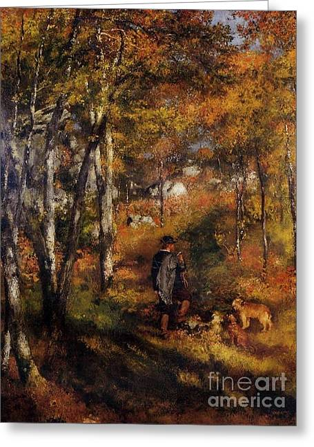 Walking His Dogs Greeting Card by Renoir