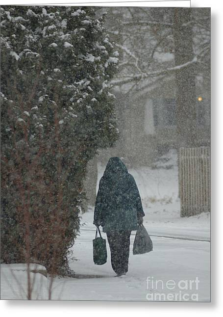 Walking Home In The Snow Greeting Card