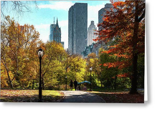 Walking In Central Park Greeting Card