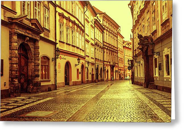 Greeting Card featuring the photograph Walking In Prague. Series Golden Prague by Jenny Rainbow