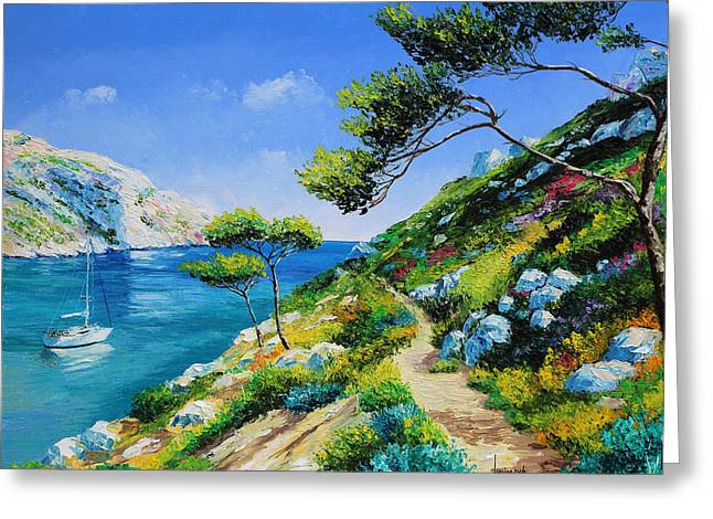 Walking In The Cove Greeting Card