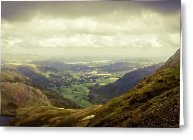 Walking In The Mountains, Lake District, Greeting Card