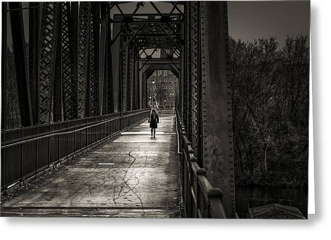 Walking In The Rain Greeting Card by Bob Orsillo