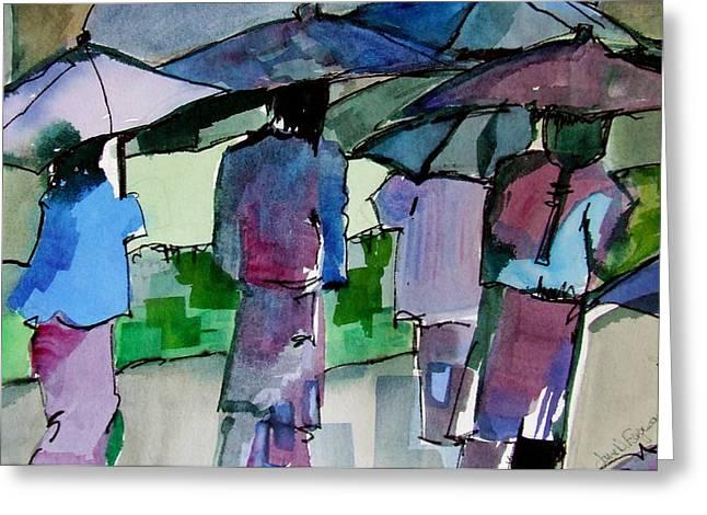 Walking In The Rain Greeting Card by Jane Ferguson