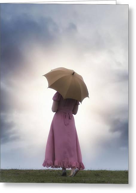 Walking In The Rain Greeting Card