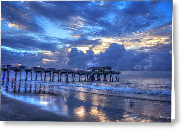 Walking In The Reflections Tybee Island Pier Sunrise Art Greeting Card by Reid Callaway