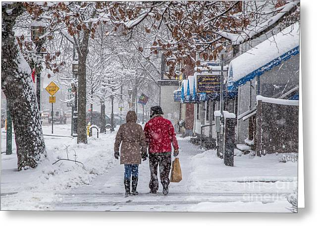 Walking In The Snow Greeting Card by Benjamin Williamson