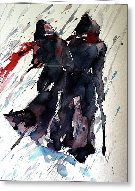 Walking In The Storm Greeting Card by Kovacs Anna Brigitta